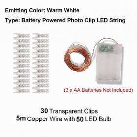 Leclstar Lampu Hias Dekorasi Clip String Battery Powered 50 LED 5 Meter Warm White - 0607 - Warm White