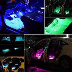 MAHAQI Lampu LED Strip Car Interior Light 72 LED RGB with Remote Control - MAH4 - Black - 3