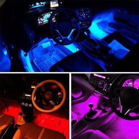 MAHAQI Lampu LED Strip Car Interior Light 72 LED RGB with Remote Control - MAH4 - Black - 4