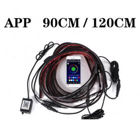 JIAMEN Lampu LED Strip Mobil RGB Underglow Car Body 90/120 cm 4PCS with Bluetooth App Controller - JIA4 - Black