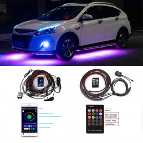 JIAMEN Lampu LED Strip Mobil RGB Underglow Car Body 90/120 cm 4PCS with Bluetooth App Controller - JIA4 - Black - 3