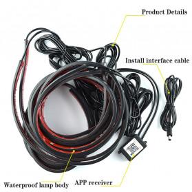JIAMEN Lampu LED Strip Mobil RGB Underglow Car Body 90/120 cm 4PCS with Bluetooth App Controller - JIA4 - Black - 7