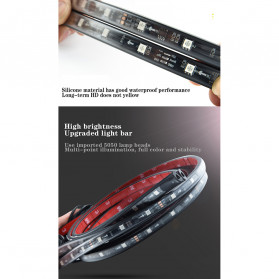 JIAMEN Lampu LED Strip Mobil RGB Underglow Car Body 90/120 cm 4PCS with Bluetooth App Controller - JIA4 - Black - 8