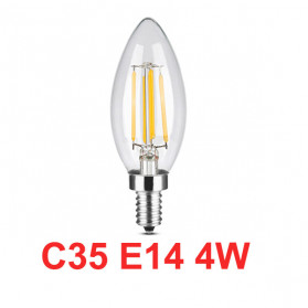 Lcamaw Lampu Bohlam LED Vintage Retro Filament Bulb 2700K E14 4W - C35 - Warm White
