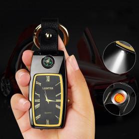 LST Gantungan Kunci Jam Korek Api Elektrik Lighter LED Light - HY667 - Black