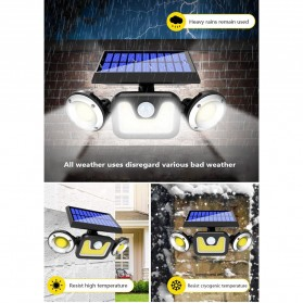 Choifoo Lampu Solar Panel Sensor Gerak PIR Outdoor Waterproof 83 COB LED - 208ABS - Black - 2