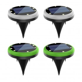 VKTECH Lampu Tanam LED Solar Panel Outdoor Waterproof 6 LED Colorful - VL320 - Black/Green - 2