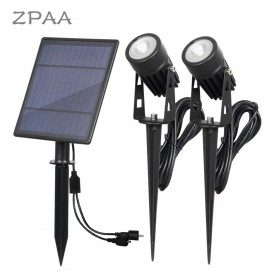 ZPAA Lampu Taman Energi Solar Panel Outdoor 2 Lamp White Light - TS-S4202 - Black