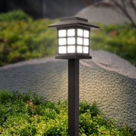 AIFENG Lampu Taman Solar Panel Garden Decoration Ground Plug Cold White Light - EM320 - Black - 2