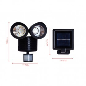 QuadG Lampu Taman Solar Sensor Gerak Outdoor Weatherproof 22 LED - L450 - Black - 8