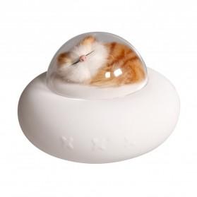 FreeON Lampu LED Kucing Pesawat Luar Angkasa USB Night Light Lamp Pet Cat Spaceship Rechargeable - LJC-149 - Transparent - 2