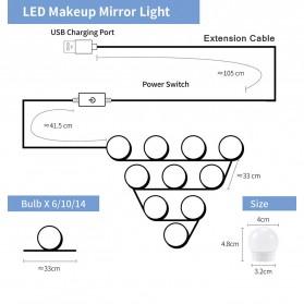 CanLing Lampu Bola LED Cermin Make Up USB Mirror Light Bulb 10 LED 3000-5500K - CLN10 - White - 9