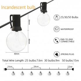 Dongdahua Lampu Hias Dekorasi Ball Fairy Light 7.6M 25 Bulb 3W Warm White - GY25 - Black - 7