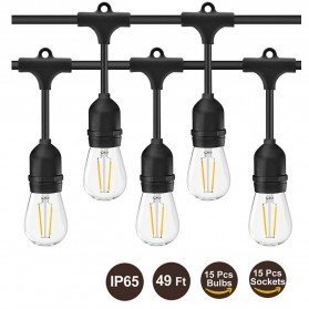 RAYWAY Lampu Hias LED Dekorasi Retro Edison String Light 5M 15 Bulb 2W Warm White - GY26 - Warm White