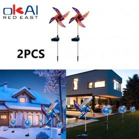 OKAL RED EAST Lampu Taman Baling-Baling Solar Panel Garden Decoration Windmill 2 PCS - EM321 - Black