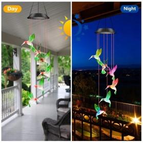 Hansoland Lampu Hias Gantung Solar Wind Chime Light Model Bird - HOL1895 - Multi-Color
