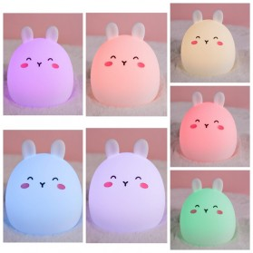 Lampu Malam / Lampu Tempat Tidur - ANTINIYA Lampu Tidur Lucu Anak LED RGB Light Model Kelinci - M22 - White
