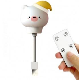 AliexLED Lampu Tidur LED USB Desain Beruang Lucu dengan Remote Control - W-005 - White