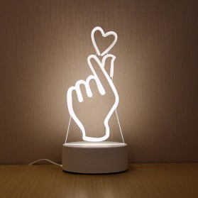 SOLOLANDOR Lampu 3D LED Transparan Design LOVE Saranghaeyo - LD3200 - White