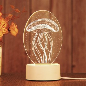 SOLOLANDOR Lampu 3D LED Transparan Design JellyFish - LD3300 - White