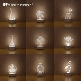 SOLOLANDOR Lampu 3D LED Transparan Design JellyFish - LD3300 - White - 7
