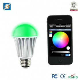 Super Legend LED Light Bulb Super Smart Bluetooth Controlled E27 7W for iOS and Android - B00K2339FS - Silver