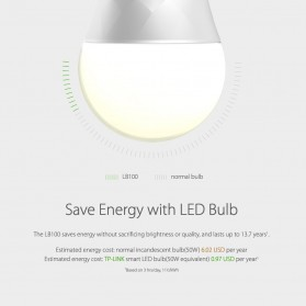 TP-Link Smart Wi-Fi LED Bulb Lampu Bohlam with Dimmable Light 2700K - LB100 - White - 4