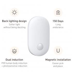 Baseus Lampu LED Magnetic Night Light PIR Sensor Cool White - DGSUN-RB02 - White - 8
