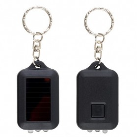TaffLED Mini Led Solar Power Rechargeable Flashlight + Keychain - XY - Black