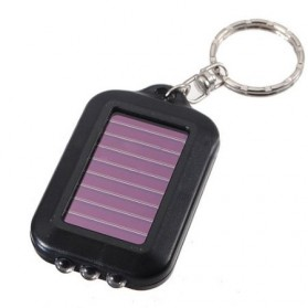 TaffLED Mini Led Solar Power Rechargeable Flashlight + Keychain - XY - Black - 3