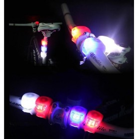 Bicycle Light Waterproof Silicone Red LED Mountain Bike Flashlight 2 pcs - Red - 6
