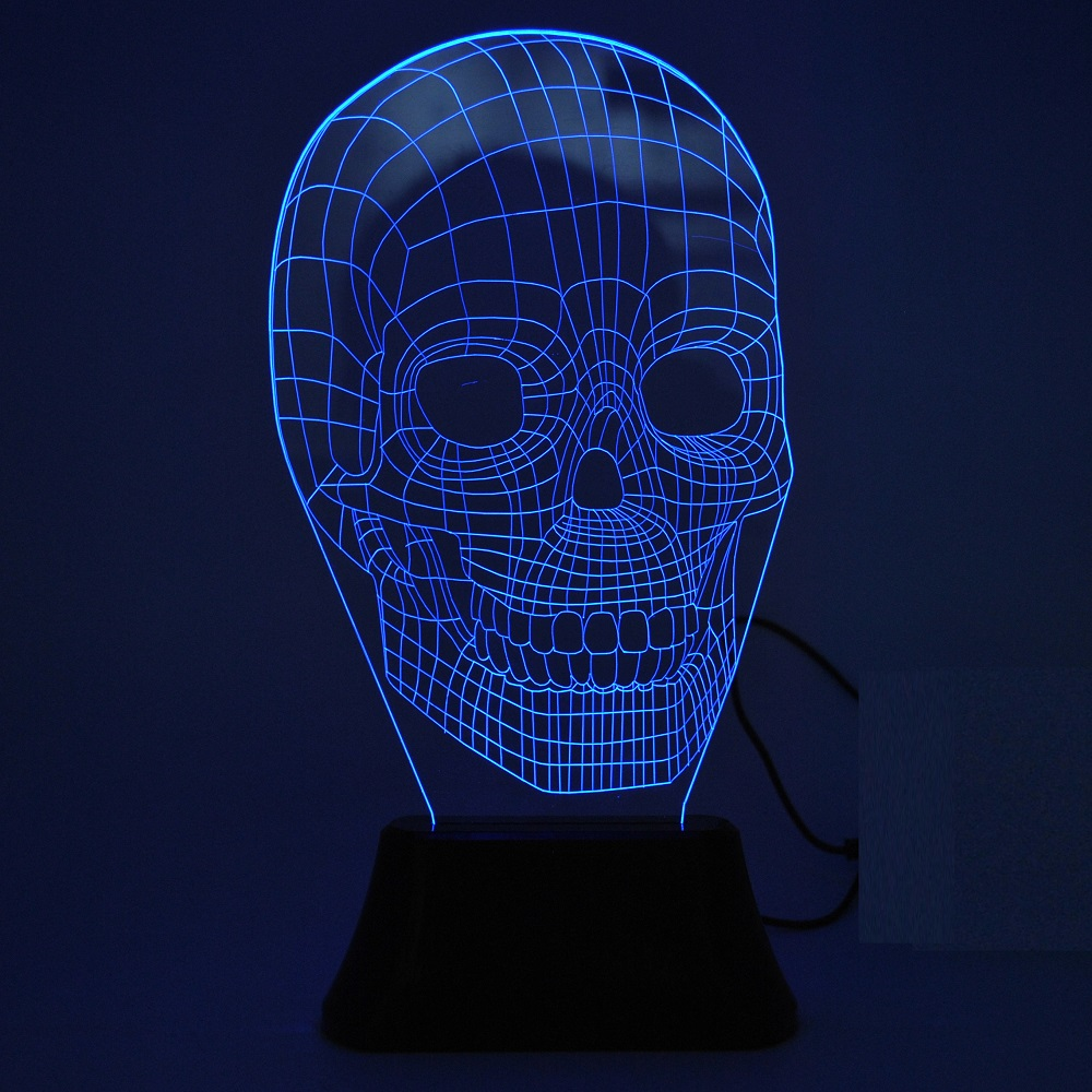 Portable 3d illusion skull shape night lamp led lampu 3d desain tengkorak black