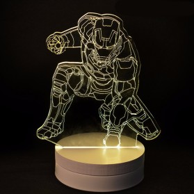ICOCO Lampu 3D LED Transparan Design Iron Man - MK4 - White