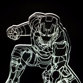 ICOCO Lampu 3D LED Transparan Design Iron Man - MK4 - White - 2