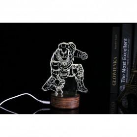ICOCO Lampu 3D LED Transparan Design Iron Man - MK4 - White - 3