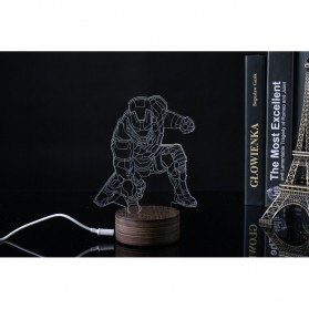 ICOCO Lampu 3D LED Transparan Design Iron Man - MK4 - White - 4