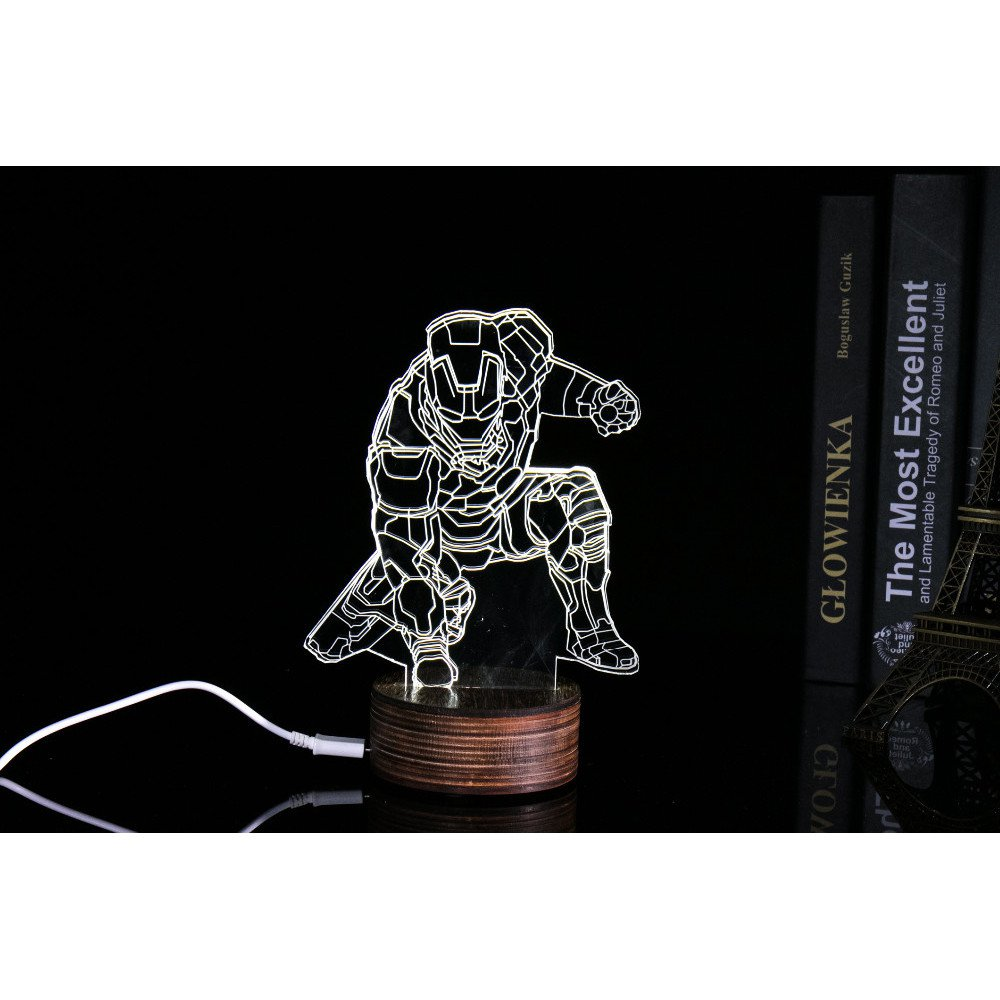 ICOCO Lampu 3D LED Transparan Design Iron Man MK4 White JakartaNotebook