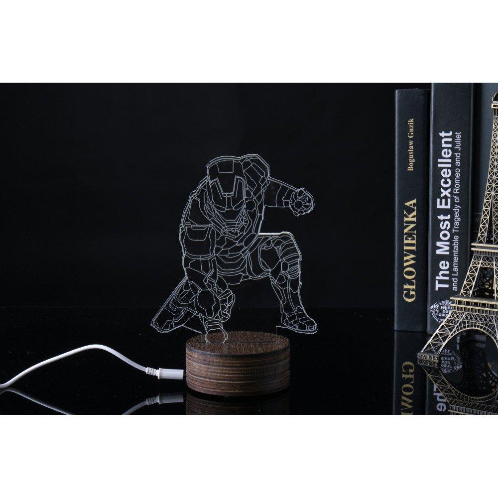 ... Lampu 3D LED Transparan Design Iron Man - MK4 - White - 4 ...