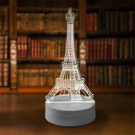 Lampu 3D LED Transparan Desain Eiffel Tower - G5711A - White