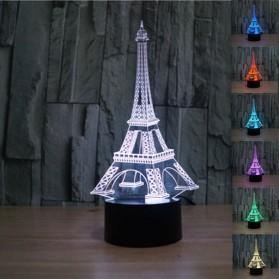 Lampu 3D LED Transparan Desain Eiffel Tower - G5711A - White - 2