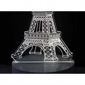 Lampu 3D LED Transparan Desain Eiffel Tower - G5711A - White - 4