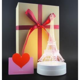 Lampu 3D LED Transparan Desain Eiffel Tower - G5711A - White - 5