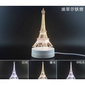 Lampu 3D LED Transparan Desain Eiffel Tower - G5711A - White - 6
