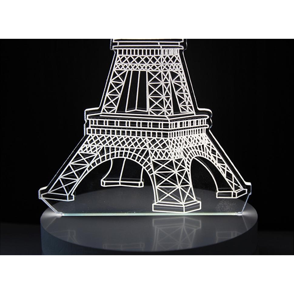 ... Lampu 3D LED Transparan Desain Eiffel Tower - G5711A - White - 4 ...
