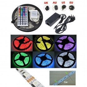 Led Strip Flexible Light Waterproof 5050 RGB 5M with 44 Key Remote Control - White