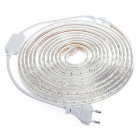 Led Strip Flexible Light SMD 5050 RGB 7 Color with EU Plug Controller 220V -  5M - White