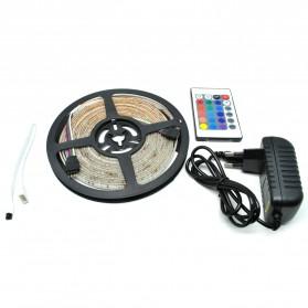 HAMBODER RGB LED Strip 3528 300 LED 5 Meter with 12V 2A Light Controller & Remote Control - Black
