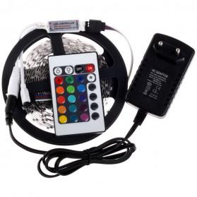 HAMBODER RGB LED Strip 3528 300 LED 5 Meter with 12V 2A Light Controller & Remote Control - Black - 2