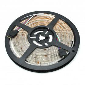HAMBODER RGB LED Strip 3528 300 LED 5 Meter with 12V 2A Light Controller & Remote Control - Black - 4