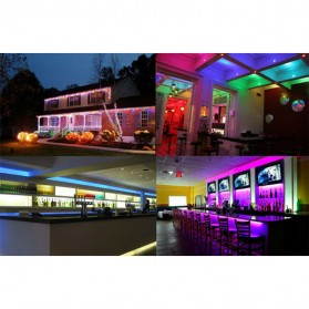 HAMBODER RGB LED Strip 3528 300 LED 5 Meter with 12V 2A Light Controller & Remote Control - Black - 9